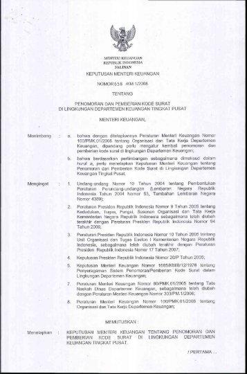 Keputusan Menteri Keuangan Nomor 658/KM.1 Tahun 2008 ...