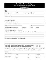 Randolph-Macon College Orientation Leader Application
