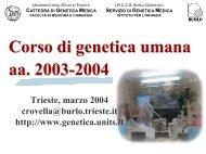 Introduzione alla Genetica Umana - Università degli Studi di Trieste