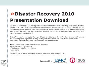 Disaster Recovery 2010 Presentation Download - Bitpipe