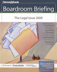 The Legal Issue 2009 - Directors & Boards