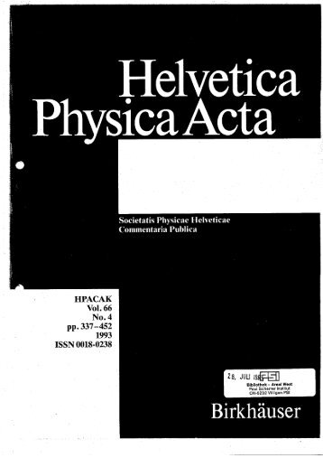 Helv. Phys. Acta 66