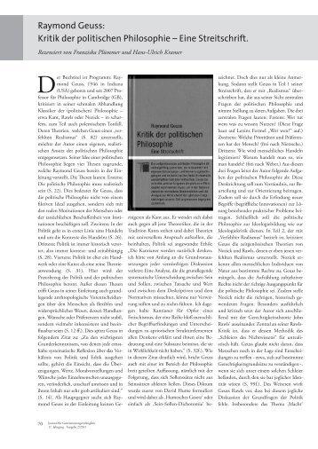 Raymond Geuss: Kritik der politischen Philosophie – Eine Streitschrift.