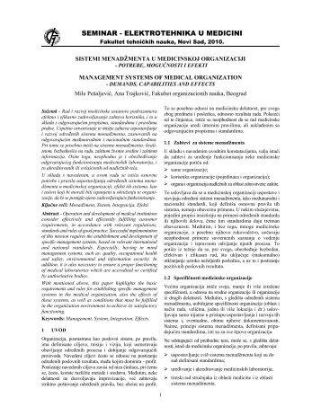 Sistemi menadžmenta u medicinskoj organizaciji