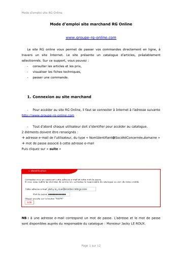 Mode d'emploi (pdf). - Groupe RG