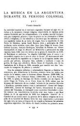 LA MUSICA EN LA ARGENTINA DURANTE EL PERIODO COLONIAL