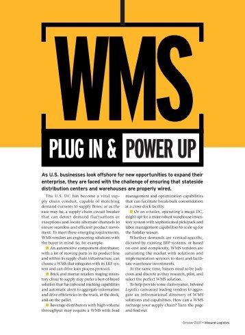 Plug In & Power uP - Inbound Logistics