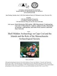 Shell Midden Archaeology on Cape Cod and the Islands and the ...