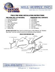 pro-wing installation instructions - Mill Supply, Inc.