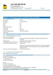 eni i-Sint MS 5W-40 - Produkt- und Sicherheitsdatenblätter