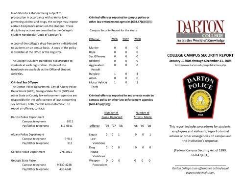COLLEGE CAMPUS SECURITY REPORT - Darton College