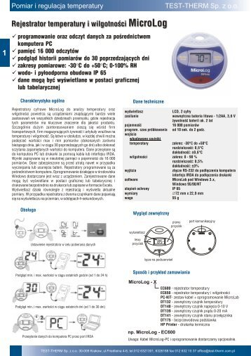 Karta katalogowa w formacie Adobe Acrobat (pdf) - TEST-THERM ...