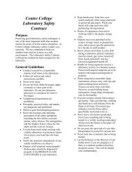 Centre College Laboratory Safety Contract