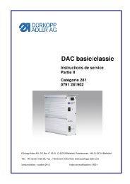 DAC basic/classic Instructions de service Partie ... - Durkopp Adler AG