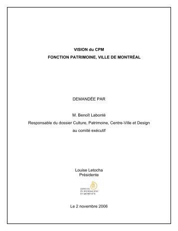 VISION du CPM FONCTION PATRIMOINE, VILLE DE MONTRÉAL ...