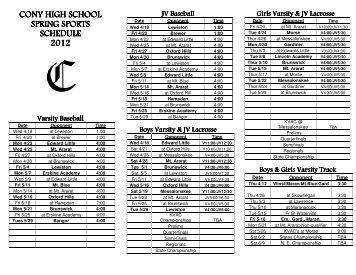 cony high school cony high school spring sports schedule 2012