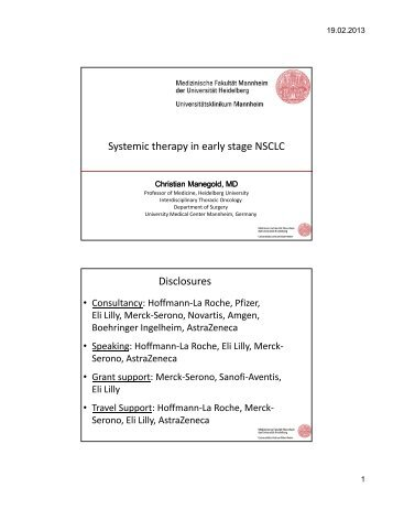Systemic therapy in early stage NSCLC Disclosures - Imedex