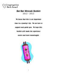 Bar/Bat Mitzvah Booklet - Congregation Beth Israel