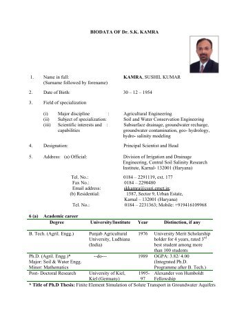 Dr. S. K. Kamra - Central Soil Salinity Research Institute