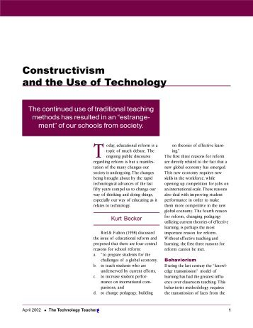 Constructivism and the Use of Technology - International ...