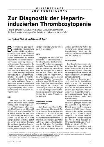 Zur Diagnostik der Heparin- induzierten Thrombozytopenie