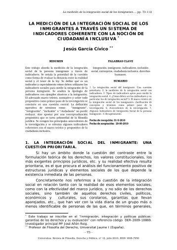 la medición de la integración social de los inmigrantes a través un ...