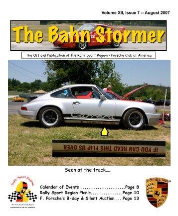 August 2007 Bahn Stormer - Rally Sport Region - Porsche Club of ...