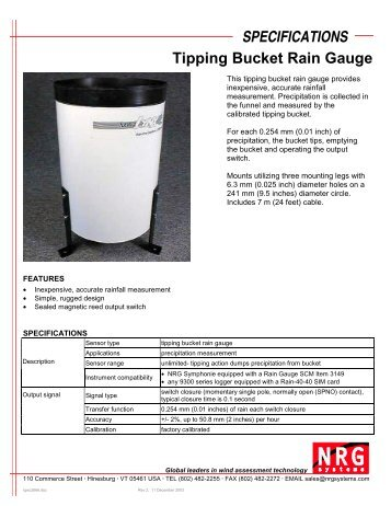 SPECIFICATIONS Tipping Bucket Rain Gauge - Proviento
