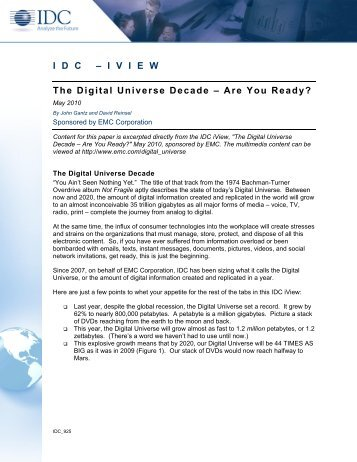 A Digital Universe Decade, Are You Ready? - EMC
