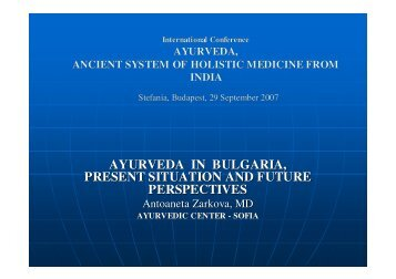 AYURVEDA IN BULGARIA, PRESENT SITUATION AND FUTURE ...