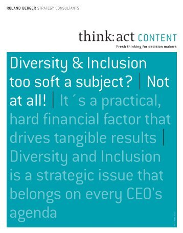 Diversity & Inclusion too soft a subject? |Not at all!|It´s a practical ...