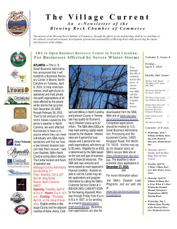 The Village Current - Blowing Rock Chamber of Commerce