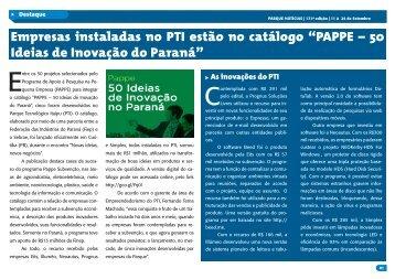 Download da Publicação - PTI - Parque Tecnológico Itaipu