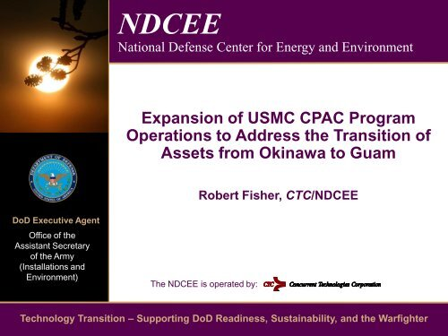 Expansion of USMC CPAC Program Operations to ... - NDCEE