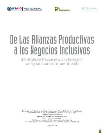 De Las Alianzas Productivas a los Negocios Inclusivos - Mapeo de ...