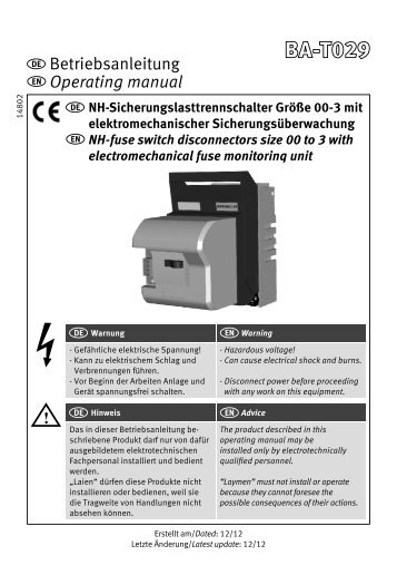 NH-Sicherungslasttrennschalter/NH-fuse switch disconnectors