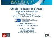 Utiliser les bases de données propriété industrielle : - Inpi