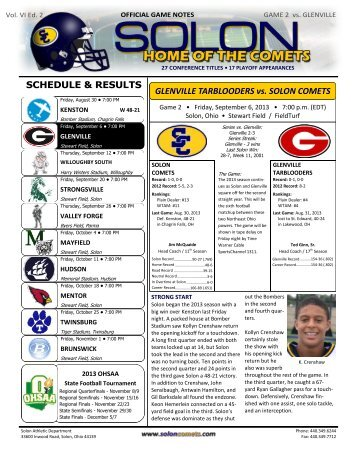 Game Notes - Week 2 - Solon City Schools