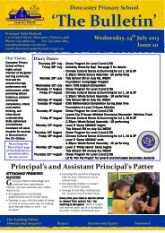 2013 Newsletter 20 - Doncaster Primary School