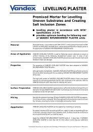 Vandex Levelling Plaster (23k) - Safeguard Europe Ltd.