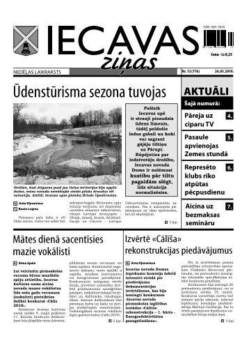 laikraksts «Iecavas Ziņas» 1. un 3. lpp. 26.03.2010.