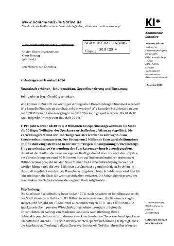 Haushalt 2014 - Kommunale Initiative Aschaffenburg
