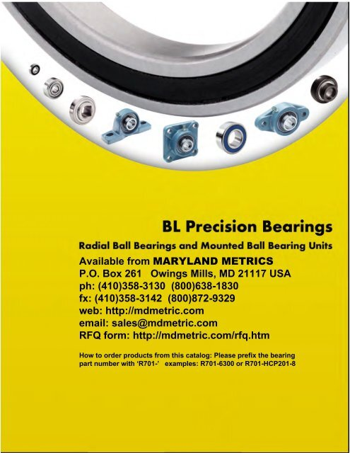 BL Precision Bearings: Radial Ball Bearings ... - Maryland Metrics