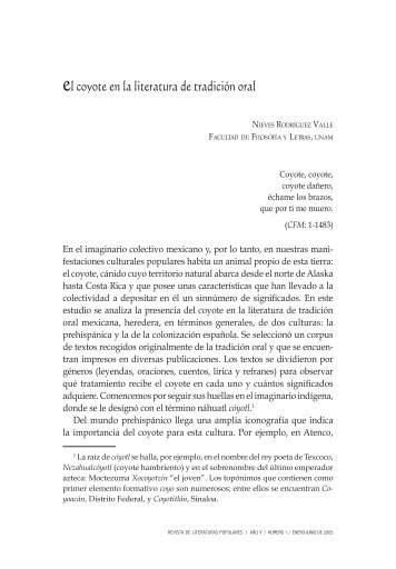 el coyote en la literatura de tradición oral - Revista de Literaturas ...
