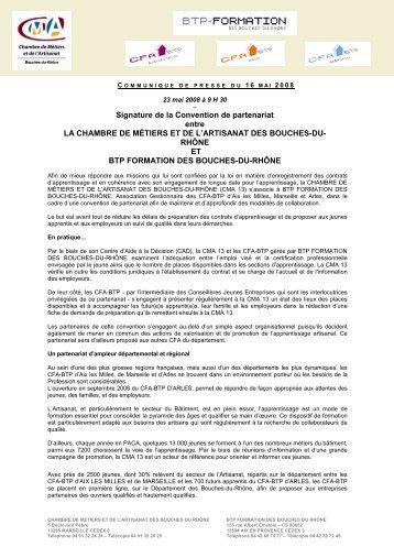 cp signature convention BTP - Chambre de Métiers et de l'Artisanat ...