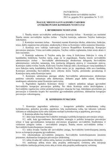 šiaulių miesto savivaldybės antikorupcijos komisijos veiklos nuostatai