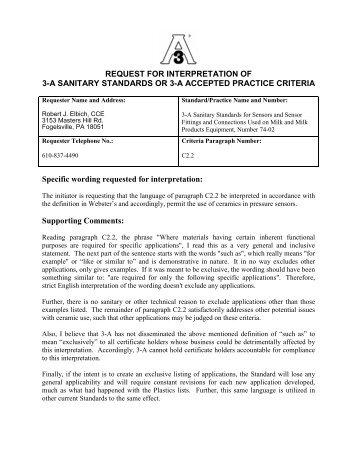 Interpretation Committee Decision 3-05 (PDF) - 3-A Sanitary ...