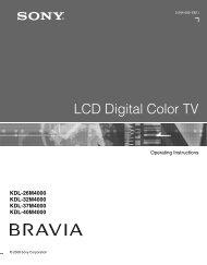 LCD Digital Color TV - Manuals, Specs & Warranty - Sony