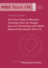 The First Step in Missions Training - Martin Bucer Seminar