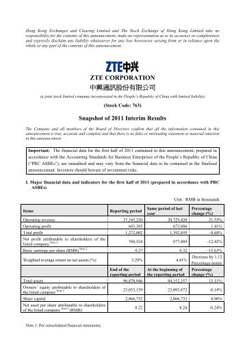 ZTE CORPORATION Snapshot of 2011 Interim Results